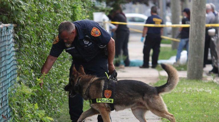 Nassau, Hempstead and Suffolk police investigate the scene
