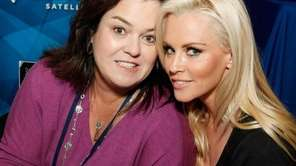 Rosie O'Donnell, left, and Jenny McCarthy attend SiriusXM