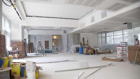 An interior view of a gallery in construction