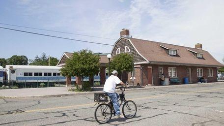 Along the Riverhead Railroad station on July 10,