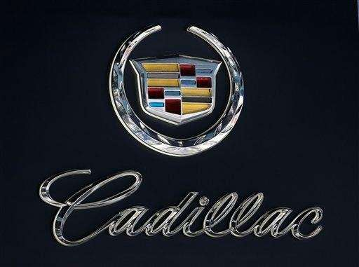 The Cadillac logo is seen at the LA