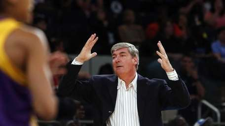 Liberty coach Bill Laimbeer reacts to a possession