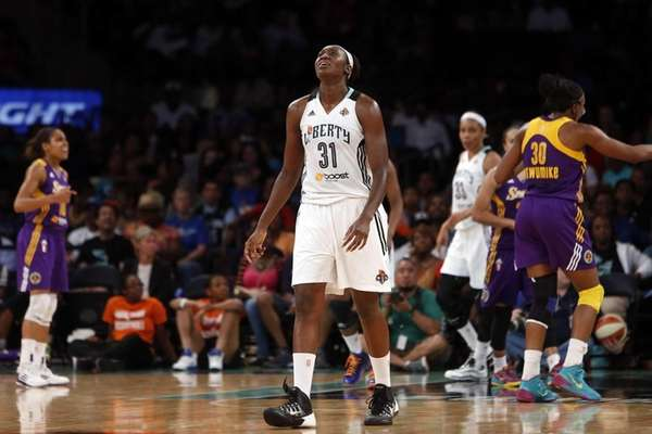 Liberty's Tina Charles reacts after attempting a pass