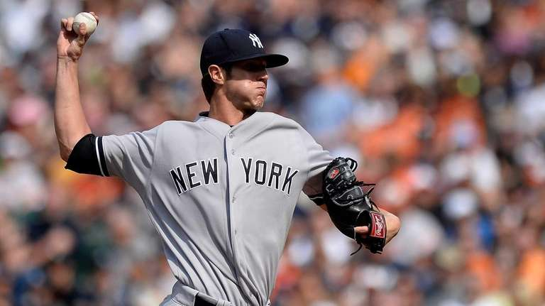 Starting pitcher Shane Greene of the Yankees throws