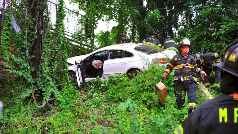 A car that went off the roadway July