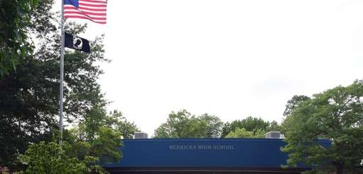 An exterior of Herricks High School in Searingtown,