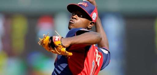 Luis Severino of the World Team pitches against