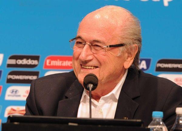 FIFA President Joseph Blatter talks during a press