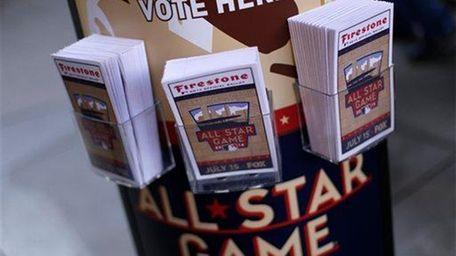 A kiosk of MLB All-Star ballots sits inside