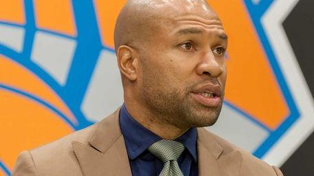 Knicks head coach Derek Fisher speaks during his