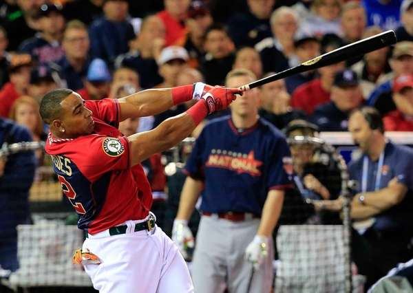 American League All-Star Yoenis Cespedes #52 of the