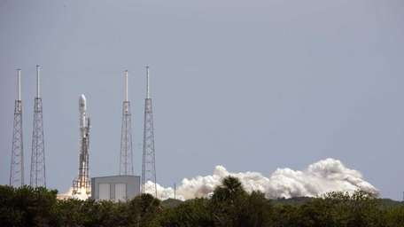 A SpaceX Falcon 9 rocket, carrying a payload