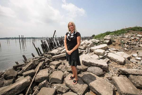 Manorhaven Village Mayor Giovanna Giunta at the site