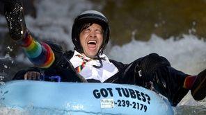 Co-founder Jeff Kagan laughs after crashing through rough