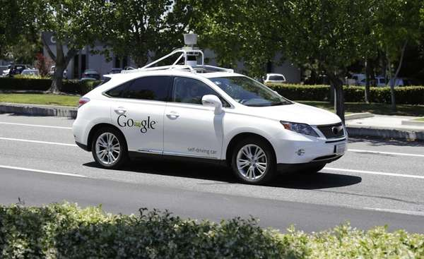 A Google self-driving car goes on a test