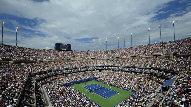 Roger Federer of Switzerland plays Novak Djokovic of