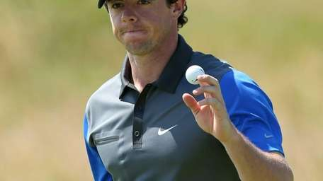 Northern Ireland's Rory McIlroy gestures on the 13th