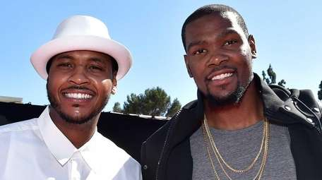 NBA players Carmelo Anthony, left, and Kevin Durant