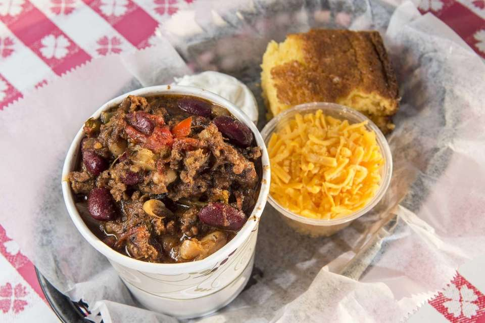 Barbecue brisket chili and corn bread is served