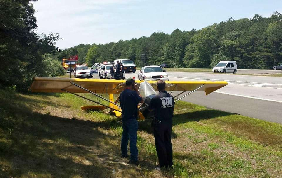 A small plane on Sunrise Highway in East