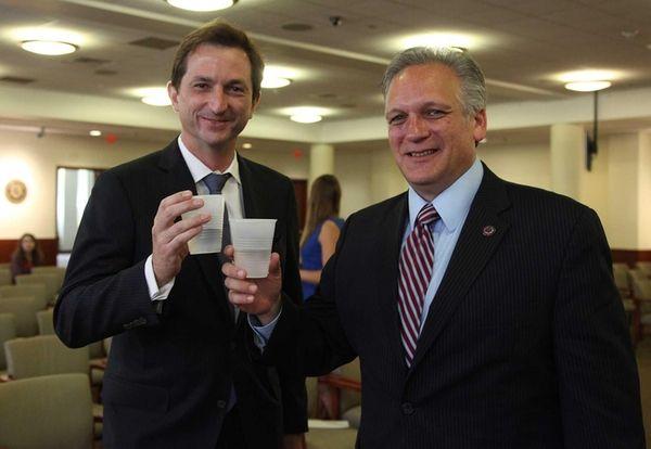 Nassau County Executive Edward Mangano with Bertrand Camus,