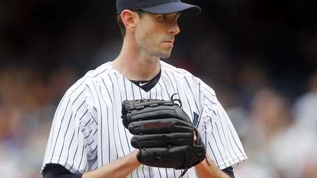 Brandon McCarthy of the Yankees pitches in the