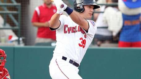 Cyclones designated hitter Michael Conforto cracks a single