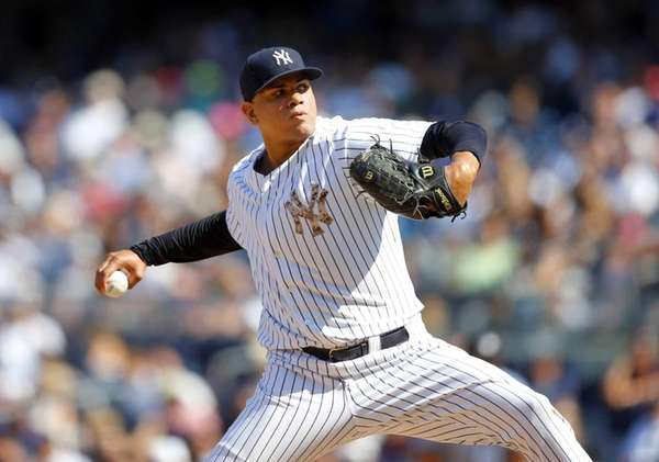 Dellin Betances of the Yankees pitches in the