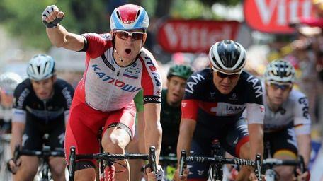 Alexander Kristoff of Norway and Team Katusha celebrates