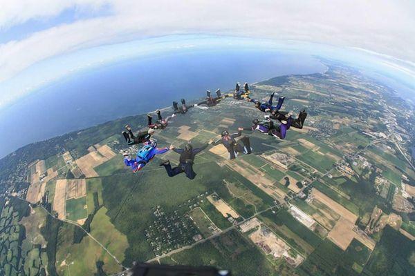 Skydive Long Island owner Ray Maynard dives with