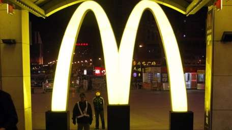 A giant logo of fast food restaurant McDonald's