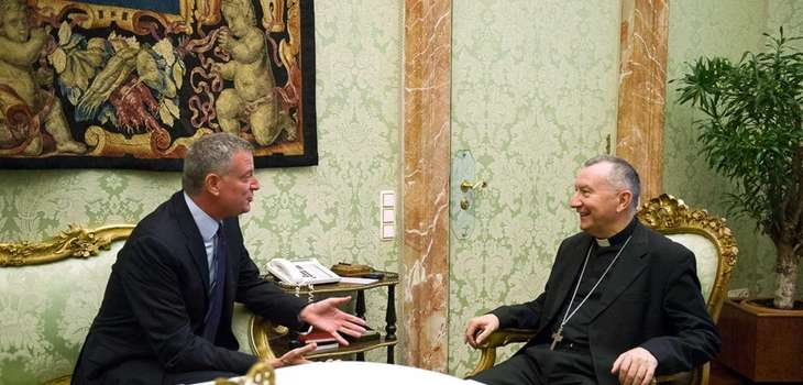 Bill de Blasio meets with Vatican Secretary of