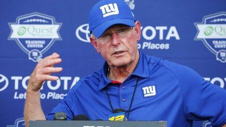 Head Coach Tom Coughlin of the Giants speak