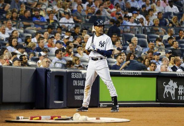 Derek Jeter of the Yankees waits to bat