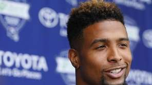 Odell Beckham Jr. of the Giants speaks to