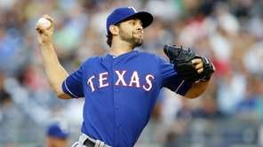 Nick Martinez of the Texas Rangers pitches in