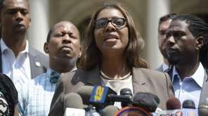 New York City Public Advocate Letitia James, center,