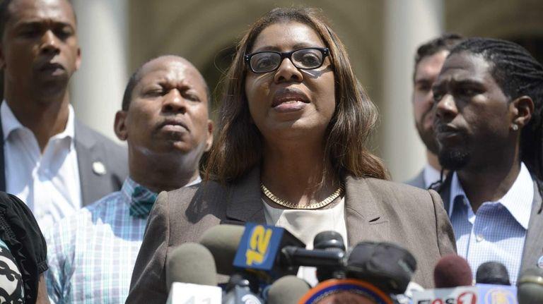 New York City Public Advocate Letitia James, center,