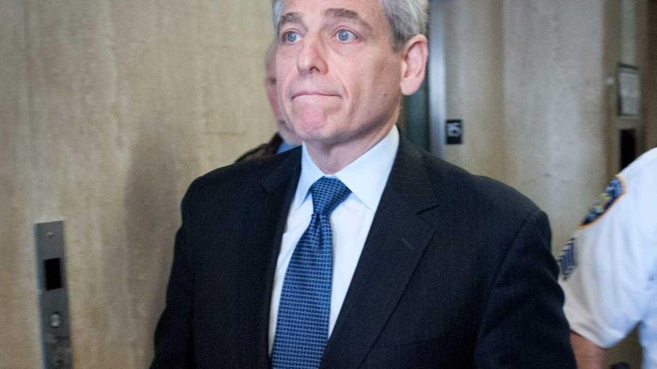 William Rapfogel leaves court in Manhattan on Wednesday,
