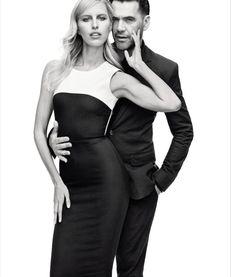 Designer Roland Mouret poses with supermodel Karolina Kurkova