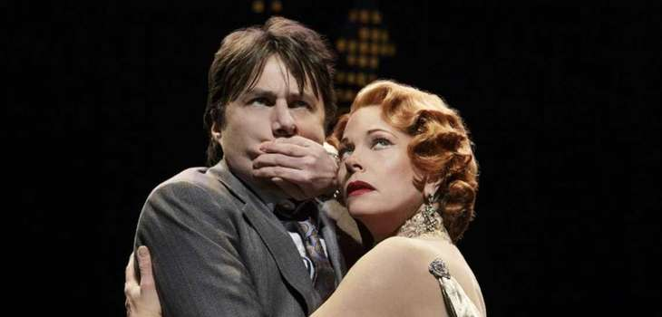"Zach Braff and Marin Mazzie in ""Bullets Over"