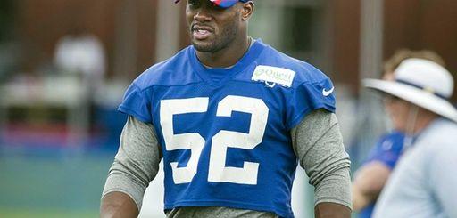 Giants linebacker Jon Beason looks on during practice