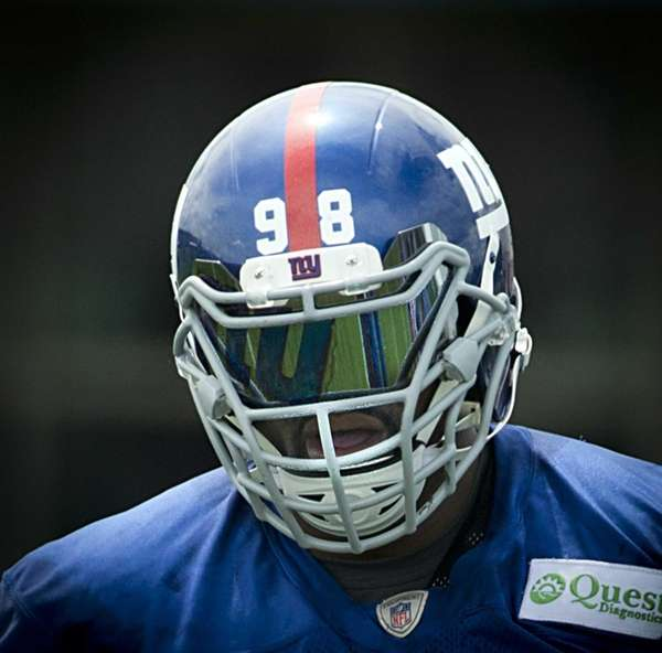 New York Giants' Damontre´Moore's helmet during practice at