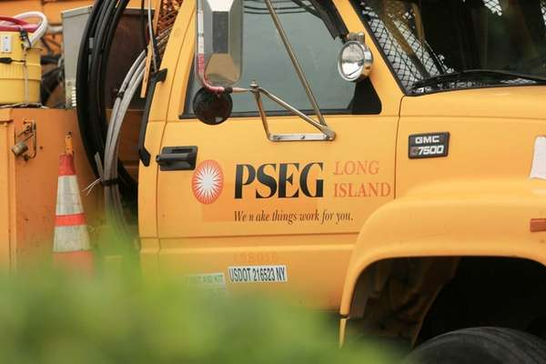 A PSEG Long Island truck on Montauk Highway
