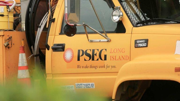 A PSEG Long Island truck on Montauk Highway