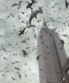 Sharks encircle the Empire State Building in a