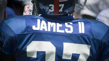 Giants CB Charles James' jersey is seen from