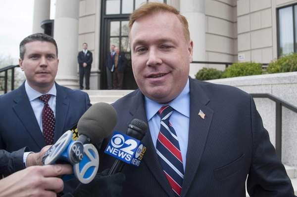 Dan Halloran exits federal court in White Plains