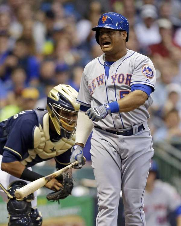 The Mets' Bobby Abreu reacts after striking out