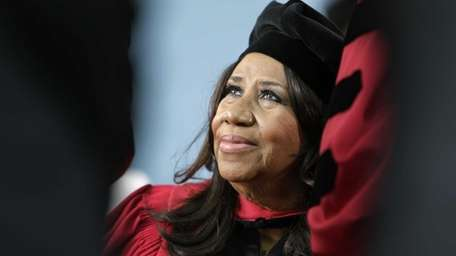 Aretha Franklin on stage during Harvard University commencement